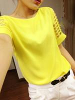 2014 New Chiffon Blouse Shirt elexs Fashion Plus size Summer Wear Hollow out Short Sleeve  127 women