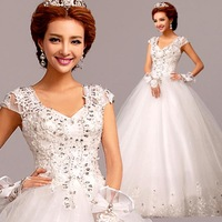 FS74 Deep v-neck Diamond Princess bride wedding dress lace straps