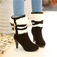 2014  spring autumn winter  Brown, black boots 500 grams of wool have big size 30-48 Senior rabbit hair women shoes free ship