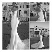Sexy mermaid low back wedding dress