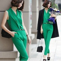 2014 fashion sleeveless jumpsuit suit collar slim skinny casual pants female