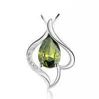 Natural Olivine Stone Necklace,925 Sterling Silver on 3 Layer Platinum Plated,Luxury Peridot Stone Italian Charm Necklace ON72