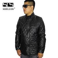 2014 New Spring Men Plus Size Design Short Slim Men's PU Jacket Leather Jackets Color Black XXXXL  Free Shipping 283-1