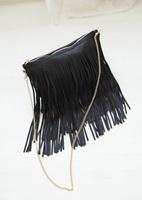 Big cat 2014 hm black tassel bag messenger bag shoulder bag handbag women's