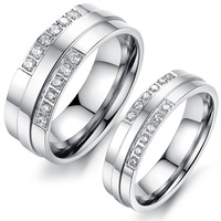 Silver Tone Stainless Steel Couples Promise Rings One Pair Love Gift Never Fade Finger CZ Ring Wedding Band Jewelry For Men