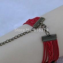 6PCS Lot 2014 New Antique Bronze Infinity Cupid Arrow Anchor Charm Vintage Bracelet Wax Leather Braid