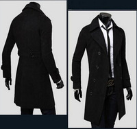 2014 Fashion Mens Double Breasted Winter Trench Coat Long Warm Wool Blend Windbreaker