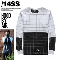 Autumn New! bigbang GD HBA Hood By Air grid black white Lovers Extend Long T-shirts  yy160