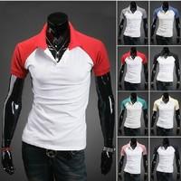 New 2014 Cotton Men's Clothing Slim Fit Men Tshirt Short Sleeve T-Shirt Stitching Color Mens Tshirts Size t-shirt men