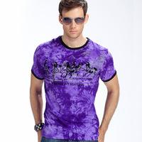 2014 Summer Fashion Quality Men's Short Sleeve T-shirt Casual Slim Male Summer Multicolor Letter Print T Shirt For Men Horse