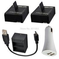 camera  Li-ion 2x Battery+USB dual Charger + USB car charger  for GoPro HD Hero3 Hero 3th AHDBT-201 AHDBT-301 gopro hero3
