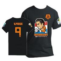 Summer dress 2014 Men's Colthing Netherlands World Cup Soccer Jersey Cartoon Image Van Persie Football Shirt For Men T Shirt