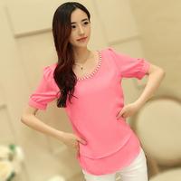 2014 Hot Selling Slim Chiffon Blouses Solid Color Body Short Sleeve Camisetas Femininas Summer Plus Size Shirts 9020