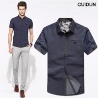2014 Mens Slim fit Unique neckline stylish Dress short Sleeve Shirts Mens dress shirts 2colors ,size: M-XXXL free shipping