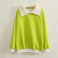 2014 new Winter pullover female Fleece hoodies Candy Sweatshirts  plus Pink purple gray green color C08058