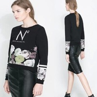 2014 European fashion casual rose Women Winter Long Sleeve Pullover Clothing Flower Print Sweater sweatshirt for women C08063