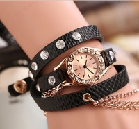 Drop Shipping,2014 New fashion Arrial PU Leather Long Strap Watches with Rhinestone Chain Women Dress Watches quartz watch