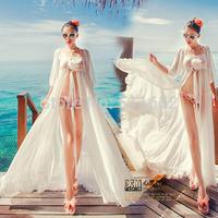 2014 new fashion spring and summer sexy train beach dress chiffon cardigan bohemia full dress free shipping