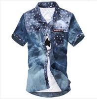 Free Shipping 2014 spring New Fashion Casual slim fit short-sleeved men's dress shirts Korean Leisure styles cotton shirt M-XXXL