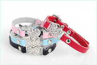 (40 pieces/lot) Free Shipping Berry Leather Heart Pet Dog Cat Collar