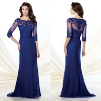Royal Blue Mother Of The Bride Dresses With Elbow-length Sleeves Beaded Lace Scoop Neckline Women Dress