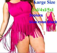 Femininas Swimwears one pieces 2014 New Women Tassels Swimwear For Lady plus size Swimsuit Bathing Suit 3XL-5X