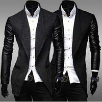 Black New 2014 Winter Men's Long Turn Down Collar Trench Coat Male Overcoat Masculino Windbreaker For Men Wool Overcoat AX443