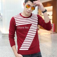 2014 New fashion Men's Slim Stripe Seven shirt Casual Basic O-neck sweater 100% cotton Knitwear clothing Free Shipping