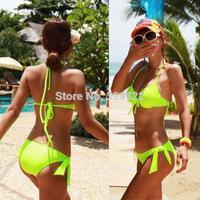 High Quality Bathing Suit Fashion Swimwear Bandeau Top and Brazilian Bottom Bikini Fluorescent Set Sexy Green Swimsuit