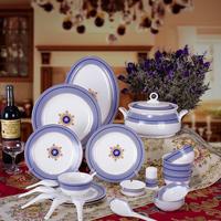Dinnerware set 56 bone china dishes ceramics bowls plate gift
