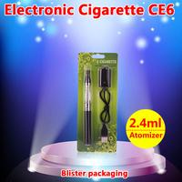 new style e-cigarette eGo-CE6 ecig tank Clearomizer(Atomizer) 2.4ml rebuildable plastic+eGo battery 1100mah 1300mah 900mah 650ma
