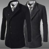 Black Gray Plus Size 3XL Wool Blends Dress Men 2014 Fashion Winter Outerwear Warm Mens Jackets Slim Leisure Coat Outdoor AX450
