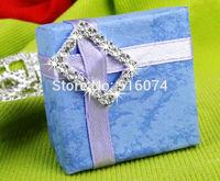 20Pcs Crystal Clear Silver Square Rhinestone Ribbon Buckle Wedding Decoration-Free shipping