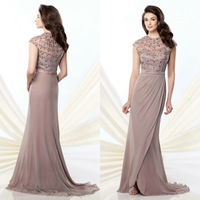 High Neckline Mother Of The Brides Dress With Cape Sleeves A Line Chiffon Floor Length Shining Beads On The Fitted Bodice