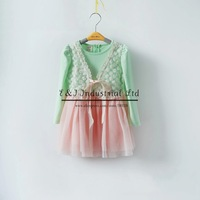 New Autumn Lace Dress Big Bow Girl Dress Pink Cotton Kids Fashion Wear Free Shipping