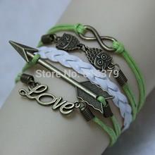 6PCS/Lot 2014 New Antique Bronze Infinity,Cupid Arrow,Love,Owl Charm Vintage Bracelet Wax Leather Braid Bracelets Bangles