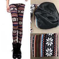 Women Winter Plus Size Warm Leggings Pearl Velvet Snow Deer Pattern Double Thick Warm Pants  9062