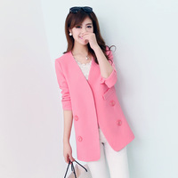 Women's Clothing autumn pink women's blazers outerwear straight slim blazer women's long-sleeve