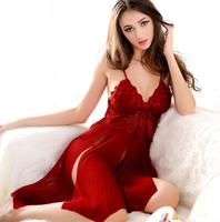 Fashion Women's Split lace sexy lingerie Cleavage sleepwear underwear nightwear nightgown G-string Chemises Babydoll Gowns Robes