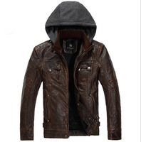 D 2014 New Winter Men'S Casual Leather Jacket Chinese Fashion Brands Plus Velvet Hooded Warm Retro Mens Leather Jackets P9