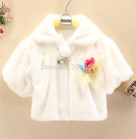 Free shipping-1PC retail 2014 new baby princess white cloak girl korean winter coat for 2-5year