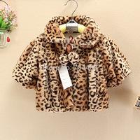 Free shipping-2014 new girls leopard wool winter coats Fashion fleece children coat for 2-5years