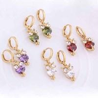 Womens 18K Gold Plated Earrings Owl Design Dangle Earrings Jewelry Free Drop Shipping