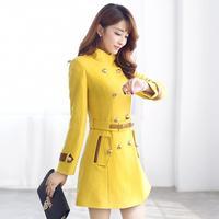 2014 autumn and winter women woolen female outerwear military wind sweet woolen overcoat one-piece dress