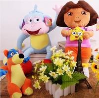 Retail 3 style Dora the Explorer 12 inch Dora Girl & Monkey &Fox Plush Dolls Toy as Children's Gift Free Shipping