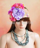Elastic Head Wraps Big Flower Headband/Artificial Flower Headband/Party Headwear/Back to school Graduation Flowers Head Wrap