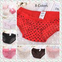 C019 Free Shipping Hot Sale New 6 PCS/lot Sexy Love Heart Women's Lace Panties Flower Side Fitness Briefs Girl's Underwear