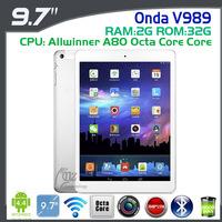 2014 NEW arrival ONDA V989 9.7inch Tablet PC Allwinner A80 Octa Core 2.0Ghz 2GB DDR3L 32GB  2048X1536 Retina HDMI 8.0M AF Cam