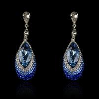 Wholesale High Quality Luxury Glass Full Rhinestone Shine Women Dangle Earrings. Christmas Party Evening Earrings Jewelry