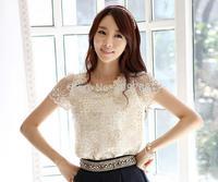 2014 New Summer roupas femininas plus size Women's Shirt Blouse Clothing Lace Solid short Sleeve Party Shirts XXL Free Shipping